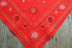 Vintage 1950's Womangirl's Bandanna Red Gold Flower Triangle Head Scarf Cotton