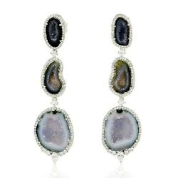 29.43ct Natural Geode Dangle Earrings 18k White Gold Jewelry
