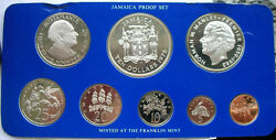 Jamaica 1975 Columbus Proof Box Set Of 8 Coins,with 2 Silver Coins