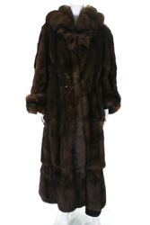 Zuki Womens Canadian Sable Fur Cold Weather Jacket Coat Brown Size Extra Large