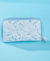 DOUBLE ZIP-AROUND ORGANIZER WALLET ~BLUE PAISLEY DESIGN~CREDIT CARDS + LOTS MORE