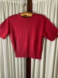 1950's Red Sweater- Short Sleeves- S- Sweater GirlPin-Up Look-VG- SEXY
