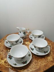 4 Andndashandnbsp Lefton Fine China In Holly 7950. Footed Cup N Saucer Sets And Creamer