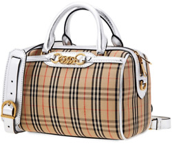 BURBERRY 8006443 SMALL CHECK LINK BOWLING BAG SILVER $799.00