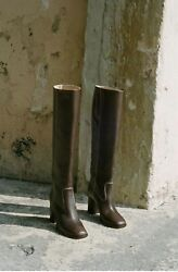 Maryam Nassir Zadeh Roma Boot Brown with White Stitch Brand New In Box