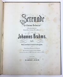 Johannes Brahms Serenade Op. 16 - From The Collection Of Edward Speyer