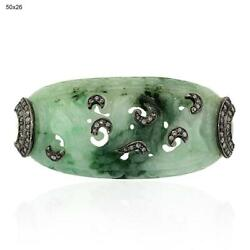 Handcarved Green Jade Diamond Spacer Finding Sterling Silver Jewelry Accessory