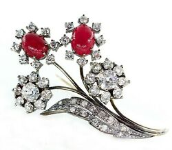 ANTIQUE 1900s 11.35CTW OLD MINE DIAMOND CLUSTER CABOCHON RUBY FLOWER BROOCH PIN
