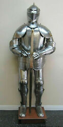 Full Armour Suit Of Armor Medieval Knight Crusader Collectible Costume Silver