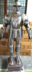Medieval Templar Greek Knight Full Suit Of Armour Silver Wearable Larp Costume