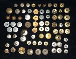 Lot Antique Buttons Military Colonial Flat Waterbury Civil War Brass Free Ship