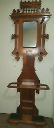 Antique Eastlake Walnut Victorian Hall Tree W Mirror Umbrella And Hat Area 1800and039s