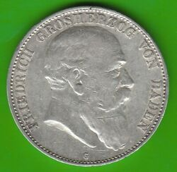 Baden 5 Mark 1907 Currency Coin Better Than Very Fine Nswleipzig