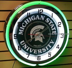 18 Michigan State University Spartans Sign Double Neon Clock Sparty