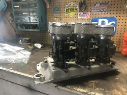 Aluminum Offenhauser 6/12 Pack Intake Sbc Ford Holley Carbs New Custom Linkage