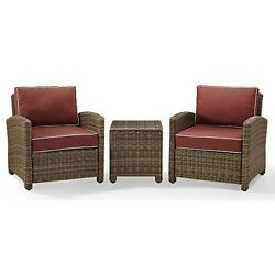 Crosley Furniture3-pc Outdoor Conversation Set With Sangria Cushionsnew