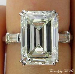 6.87CT ESTATE VINTAGE EMERALD CUT DIAMOND ENGAGEMENT WEDDING RING EGL USA PLAT