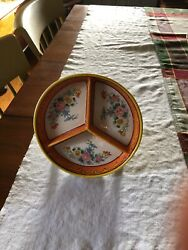 1920's Moriyama/ Morimachimm Hand Painted Divided Plate With Paper Mache Box.