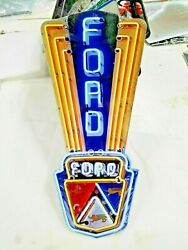 Ford Sign 24 X 11 Neon Style Sign In Steel Metal Jubilee Mustang Truck Garage +