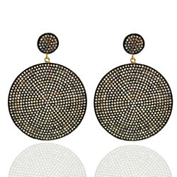 14k Gold Sterling Silver Pave Diamond Round Disc Dangle Earrings Jewelry Gift
