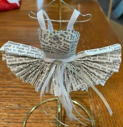 Miniature Art Paper Dresses 8 _ One Of A Kind _ Tutu In White With Hanger