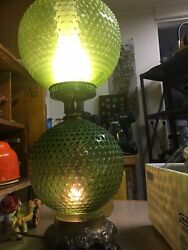 Vintage Bubble Glass With Double Light Ef And Ef Industries Lamp 1972