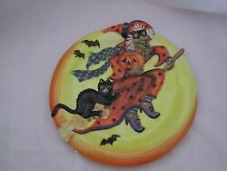 Fitz And And Floyd Witch Hazel Canape Plate New Halloween Plate Mint In Box