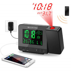 SMARTRO Digital Projection Alarm Clock with Weather Station Indoor Outdoor USB