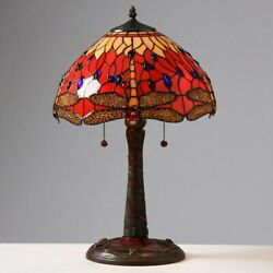 Style Lamp W/ Red Stained Glass Dragonfly Lamp And Mosaic Base