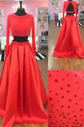 Designer Red Two-piece Prom Dress $150.00