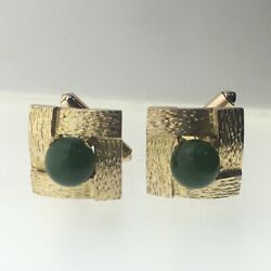 Vintage 14ct Yellow Gold And Nephrite Green Stone Swivel Cufflinks 14.5g 16.4mm