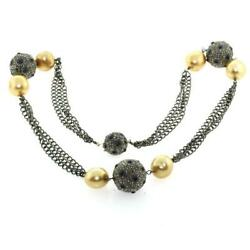 925 Silver Pave Diamond Blue Sapphire Pearl Beads Matinee Necklace Jewelry