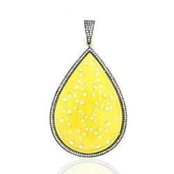 Diamond Carved Agate Pear Shape Necklace Pendant 18k Gold Silver Jewelry