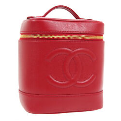 Cc Cosmetic Vanity Hand Bag 5345622 Purse Red Caviar Skin Leather 01414