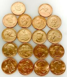 Baseball Treasure Copper Fine 1ozt Coins Tube Of 100 Coins Assorted Players