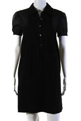 Theory Womens Button Down Short Sleeve Collared Shift Dress Black Pleated Size M