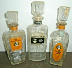 Vintage Old Grand Dad Kentucky Bourbon Whiskey Glass Decanter Bottle Lot Of 3