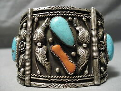 Important Best Vintage Zuni Turquoise Coral Sterling Silver Watch Bracelet