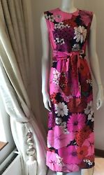 Lord And Taylor Vintage 70s 60s Silk Maxi Dress Pink Flowers Psycodelic Print Us