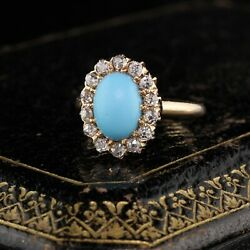 Antique Victorian 14k Rose Gold Old Miner Cut Diamonds And Turquoise Ring