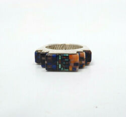 Carl And Irene Clark Navajo Sterling Silver Micro Inlay Ring Size 9.75