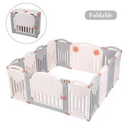 Foldable Baby Playpen Kids 14 Panel Safety Play Center Yard Home Pen Fence