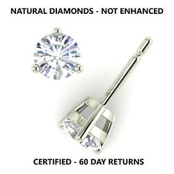 2.00 Ct D I1 Real 100 Natural Diamond Round Cut Stud Earrings 14k White Gold