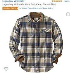 legendary whitetails mens buck camp flannel shirt Large. New!!