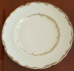 Royal Doulton Richelieu Dinner Plate White With Gold Scrolls And Leaves 10 5/8