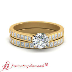 1 Carat Round Cut Diamond Cathedral Engagement Ring And Matching Wedding Band