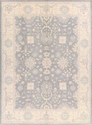 Vegetable Dye All-over Silver Grey Oushak Turkish Area Rug Hand-made Carpet 9x12