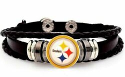 Nfl Jewelry Mens Womens Gift Leather Bracelet Football Valentines Nfl