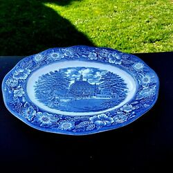 Staffordshire Liberty Blue Oval Platter Governors House 12 X 9 Original Box