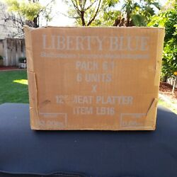 Original Case Of 6 Liberty Blue Oval Platter Governors House 12 In Original Box